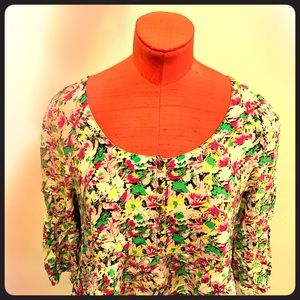 EUC FREE PEOPLE floral print tunic pockets size 12